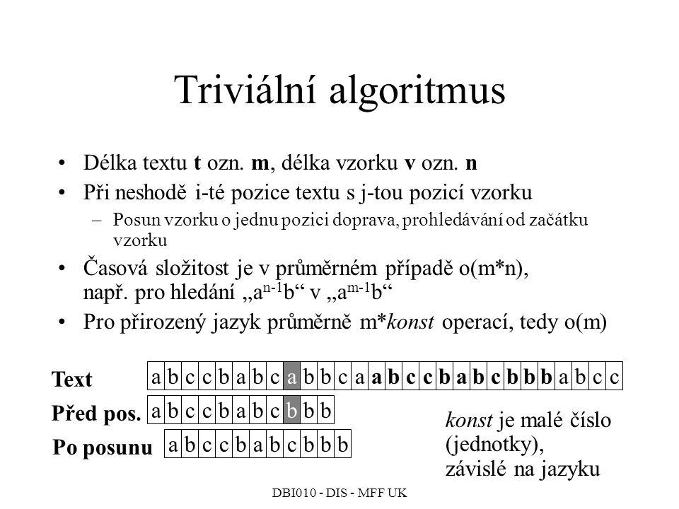 DBI010 - DIS - MFF UK Triviální algoritmus abccbabcabbcaabccbabcbbbabcc abccbabcbbb abccbabcbbb Text Před pos.
