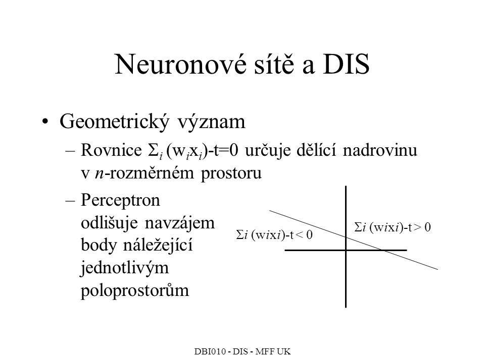 DBI010 - DIS - MFF UK Neuronové sítě a DIS Geometrický význam –Rovnice  i (w i x i )-t=0 určuje dělící nadrovinu v n-rozměrném prostoru –Perceptron odlišuje navzájem body náležející jednotlivým poloprostorům  i (wixi)-t > 0  i (wixi)-t < 0