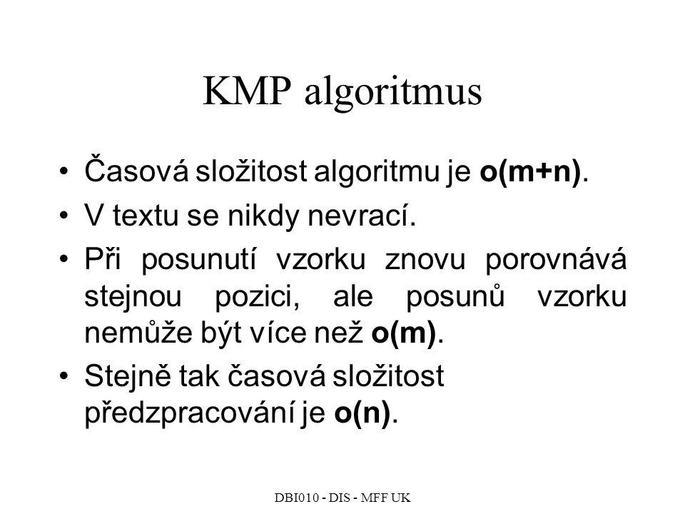 DBI010 - DIS - MFF UK KMP algoritmus Časová složitost algoritmu je o(m+n).