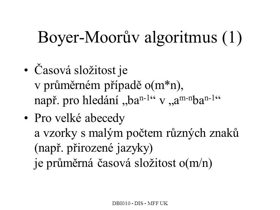 DBI010 - DIS - MFF UK Boyer-Moorův algoritmus (1) Časová složitost je v průměrném případě o(m*n), např.