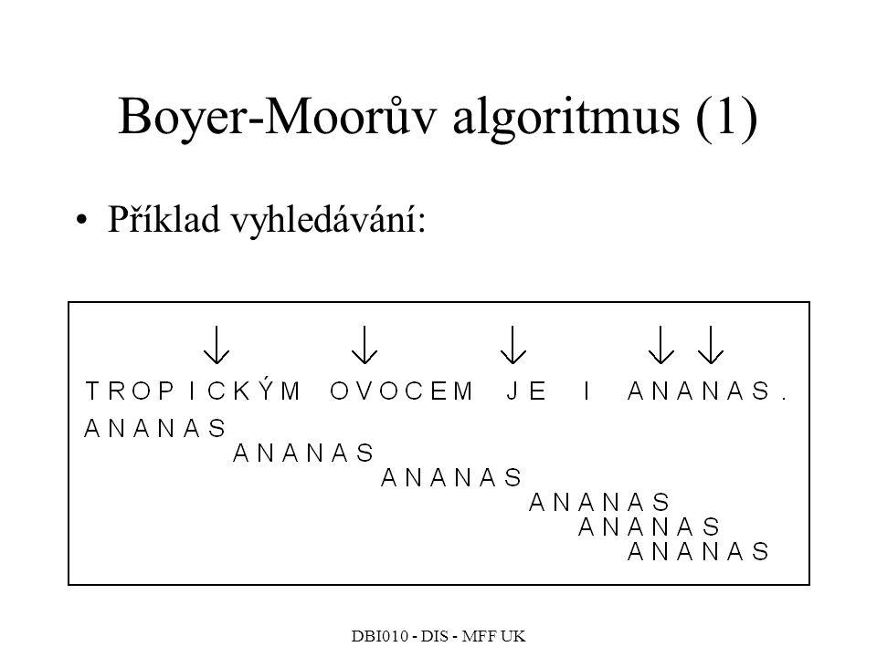 DBI010 - DIS - MFF UK Boyer-Moorův algoritmus (1) Příklad vyhledávání:
