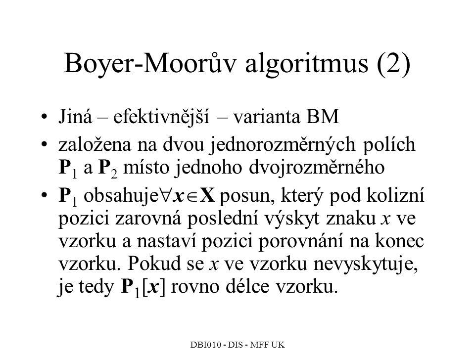 DBI010 - DIS - MFF UK Boyer-Moorův algoritmus (2) Jiná – efektivnější – varianta BM založena na dvou jednorozměrných polích P 1 a P 2 místo jednoho dvojrozměrného P 1 obsahuje  x  X posun, který pod kolizní pozici zarovná poslední výskyt znaku x ve vzorku a nastaví pozici porovnání na konec vzorku.
