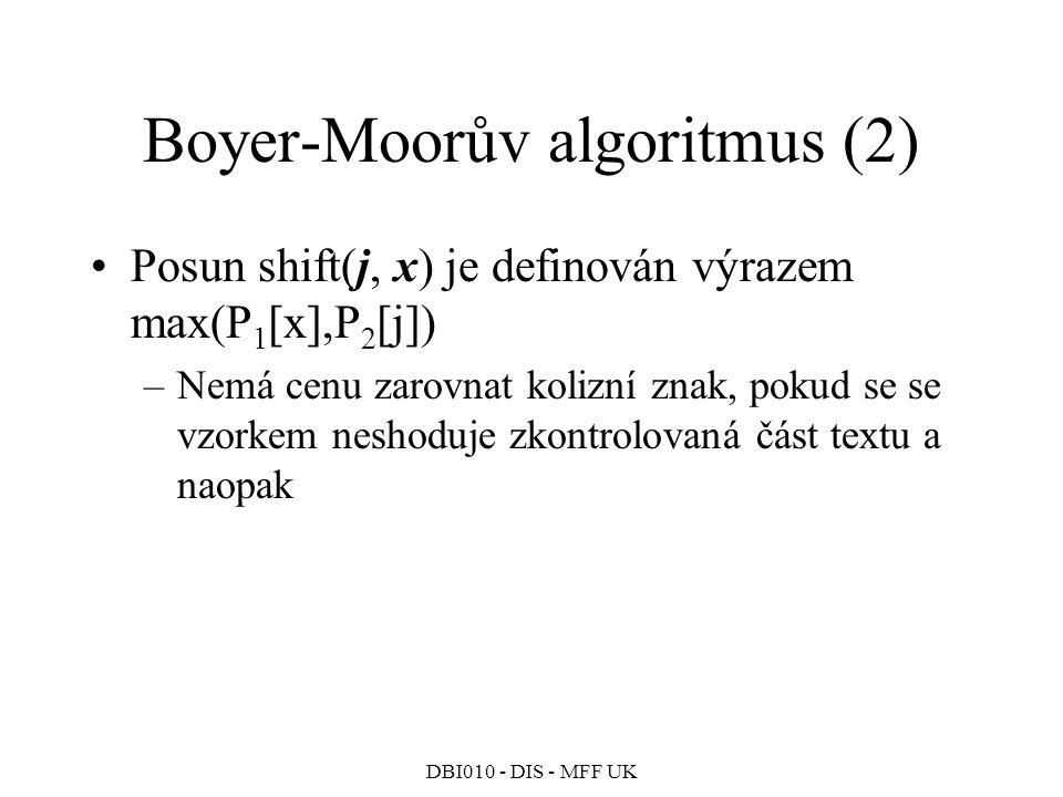 DBI010 - DIS - MFF UK Boyer-Moorův algoritmus (2) Posun shift(j, x) je definován výrazem max(P 1 [x],P 2 [j]) –Nemá cenu zarovnat kolizní znak, pokud se se vzorkem neshoduje zkontrolovaná část textu a naopak