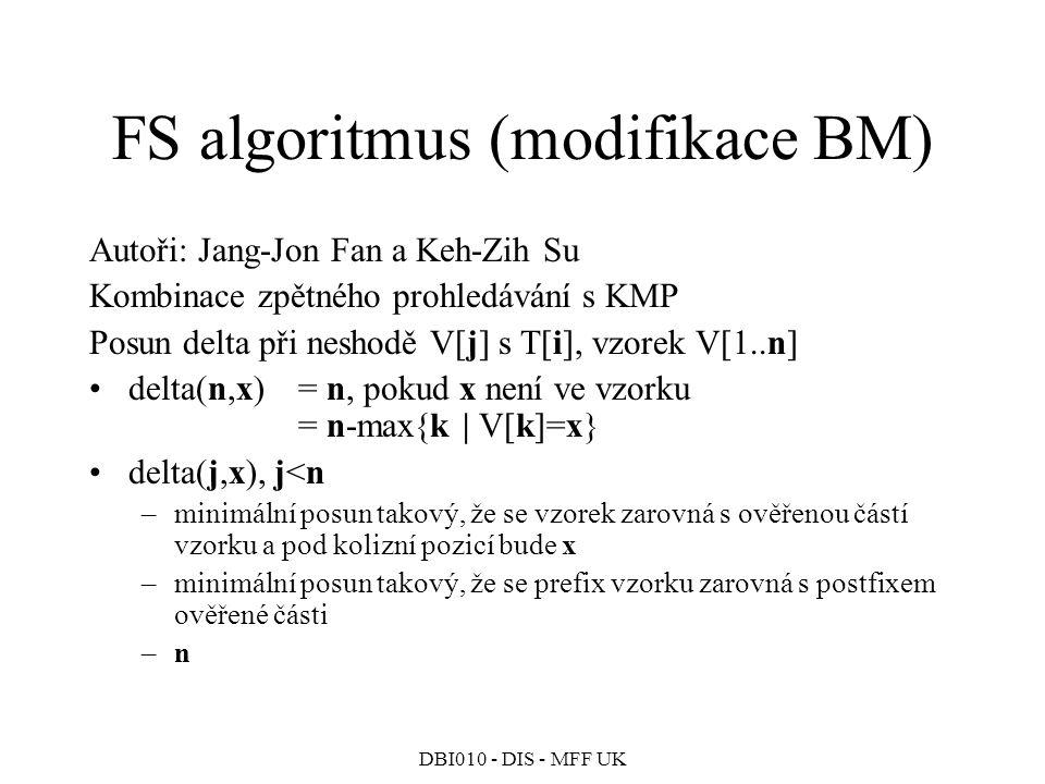 DBI010 - DIS - MFF UK FS algoritmus (modifikace BM) Autoři: Jang-Jon Fan a Keh-Zih Su Kombinace zpětného prohledávání s KMP Posun delta při neshodě V[j] s T[i], vzorek V[1..n] delta(n,x)= n, pokud x není ve vzorku = n-max{k | V[k]=x} delta(j,x), j<n –minimální posun takový, že se vzorek zarovná s ověřenou částí vzorku a pod kolizní pozicí bude x –minimální posun takový, že se prefix vzorku zarovná s postfixem ověřené části –n