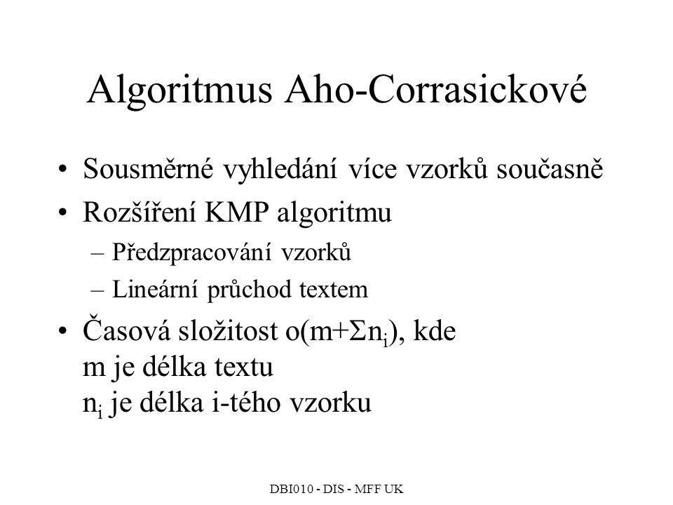 DBI010 - DIS - MFF UK Algoritmus Aho-Corrasickové Sousměrné vyhledání více vzorků současně Rozšíření KMP algoritmu –Předzpracování vzorků –Lineární průchod textem Časová složitost o(m+  n i ), kde m je délka textu n i je délka i-tého vzorku