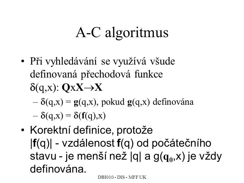 DBI010 - DIS - MFF UK A-C algoritmus Při vyhledávání se využívá všude definovaná přechodová funkce  (q,x): QxX  X –  (q,x) = g(q,x), pokud g(q,x) definována –  (q,x) =  (f(q),x) Korektní definice, protože |f(q)| - vzdálenost f(q) od počátečního stavu - je menší než |q| a g( q 0,x) je vždy definována.