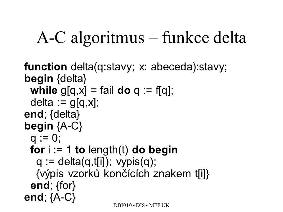 DBI010 - DIS - MFF UK function delta(q:stavy; x: abeceda):stavy; begin {delta} while g[q,x] = fail do q := f[q]; delta := g[q,x]; end; {delta} begin {A-C} q := 0; for i := 1 to length(t) do begin q := delta(q,t[i]); vypis(q); {výpis vzorků končících znakem t[i]} end; {for} end; {A-C} A-C algoritmus – funkce delta