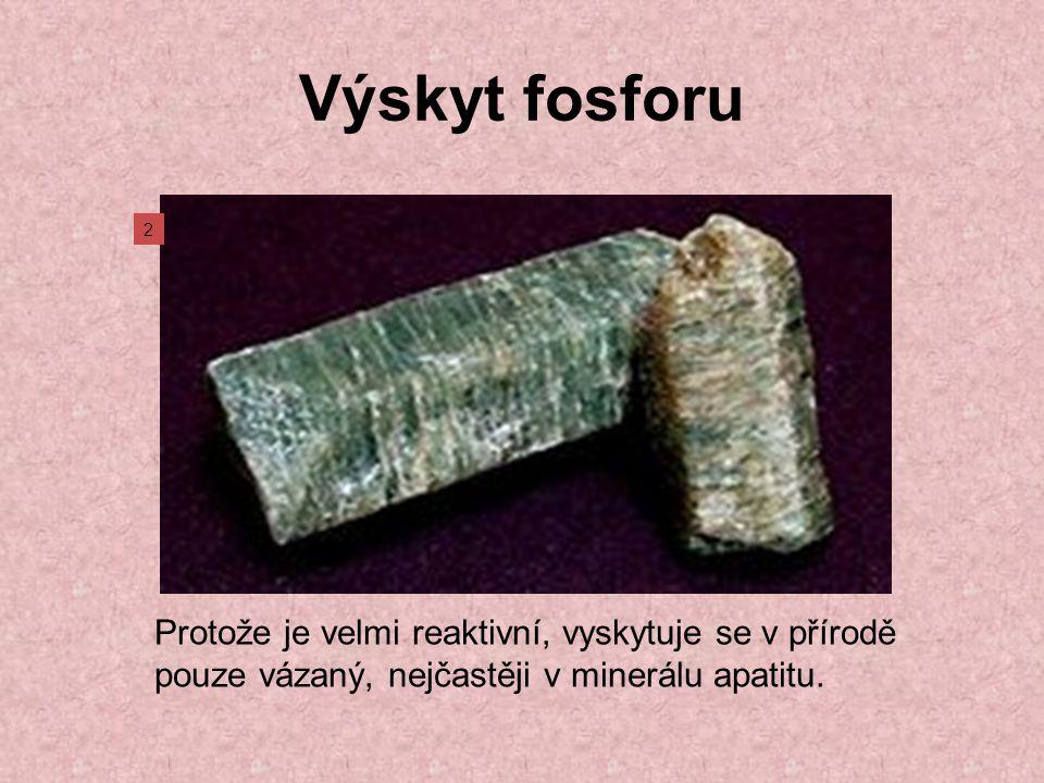 Výskyt fosforu Protože je velmi reaktivní, vyskytuje se v přírodě pouze vázaný, nejčastěji v minerálu apatitu.