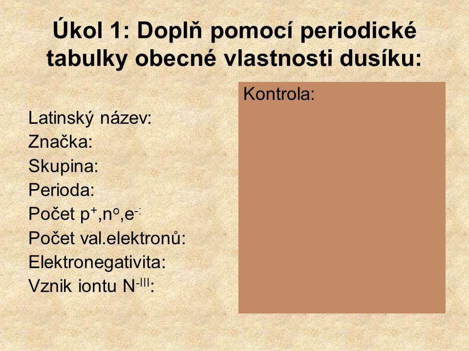 Úkol 1: Doplň pomocí periodické tabulky obecné vlastnosti dusíku: Latinský název: Značka: Skupina: Perioda: Počet p +,n o,e -: Počet val.elektronů: Elektronegativita: Vznik iontu N -III : Kontrola: Nitrogenium N V.
