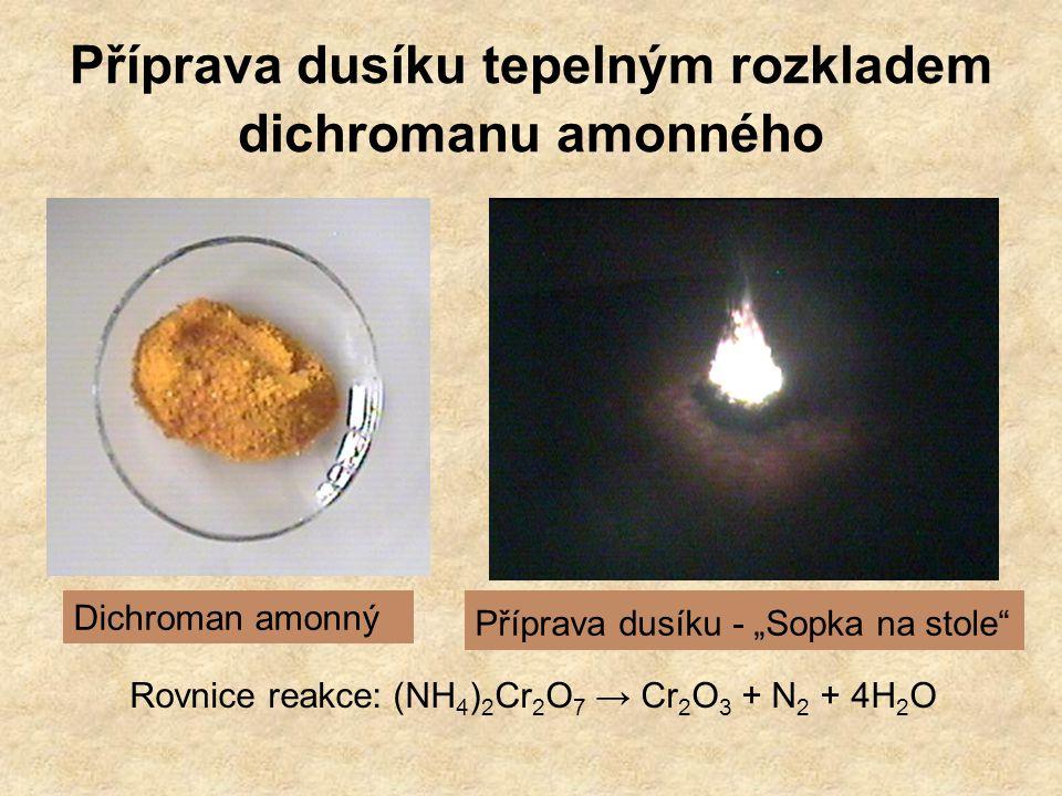 """Příprava dusíku tepelným rozkladem dichromanu amonného Dichroman amonný Příprava dusíku - """"Sopka na stole Rovnice reakce: (NH 4 ) 2 Cr 2 O 7 → Cr 2 O 3 + N 2 + 4H 2 O"""