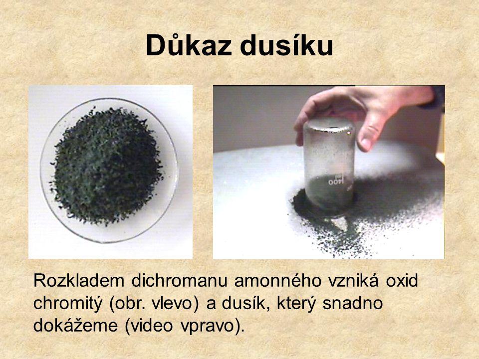 Důkaz dusíku Rozkladem dichromanu amonného vzniká oxid chromitý (obr. vlevo) a dusík, který snadno dokážeme (video vpravo).