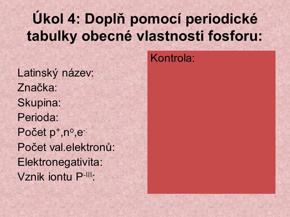 Úkol 4: Doplň pomocí periodické tabulky obecné vlastnosti fosforu: Latinský název: Značka: Skupina: Perioda: Počet p +,n o,e -: Počet val.elektronů: Elektronegativita: Vznik iontu P -III : Kontrola: Phosphorus P V.
