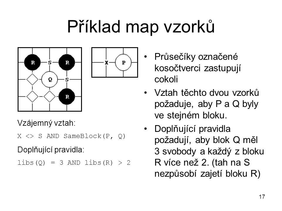 17 Příklad map vzorků Průsečíky označené kosočtverci zastupují cokoli Vztah těchto dvou vzorků požaduje, aby P a Q byly ve stejném bloku. Doplňující p