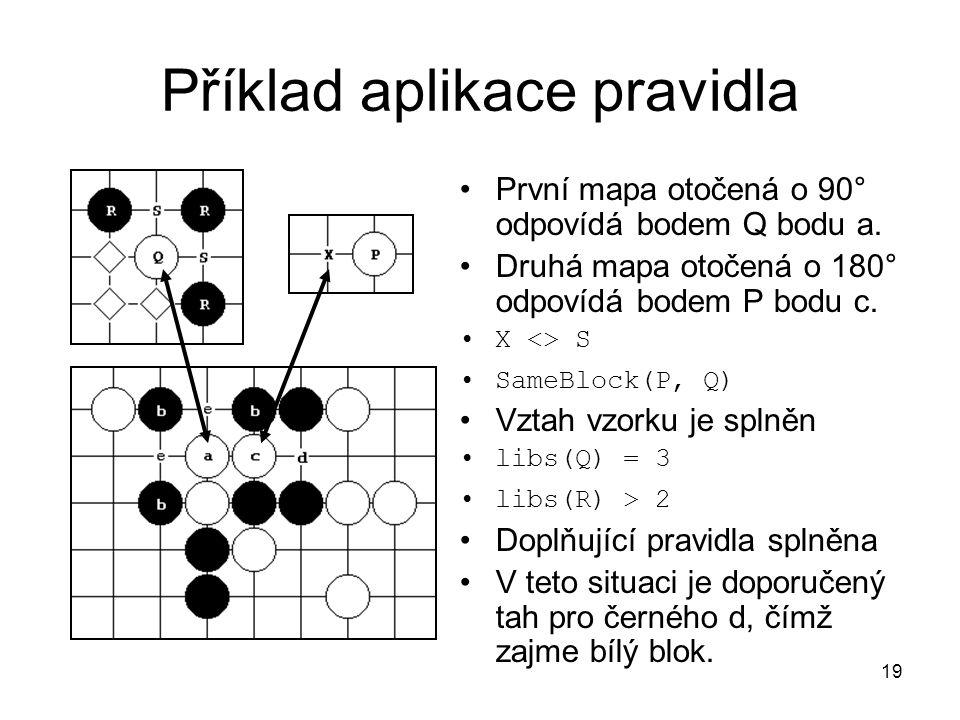 19 Příklad aplikace pravidla První mapa otočená o 90° odpovídá bodem Q bodu a. Druhá mapa otočená o 180° odpovídá bodem P bodu c. X <> S SameBlock(P,