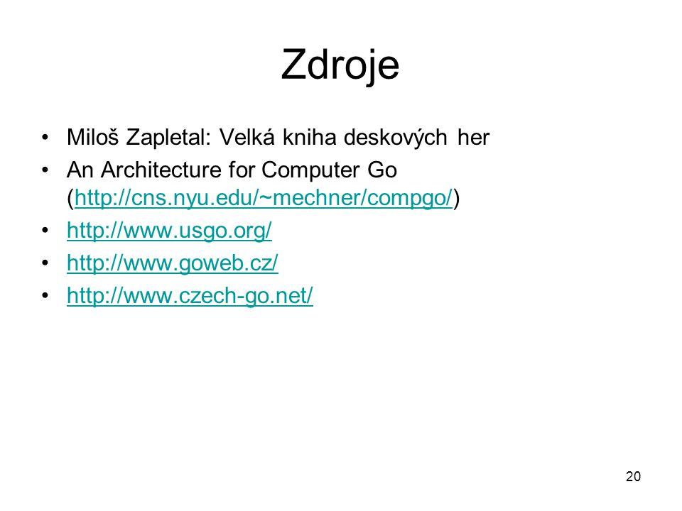 20 Zdroje Miloš Zapletal: Velká kniha deskových her An Architecture for Computer Go (http://cns.nyu.edu/~mechner/compgo/)http://cns.nyu.edu/~mechner/c