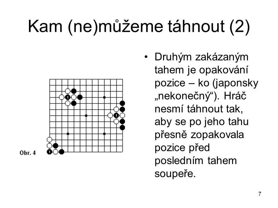 18 Reprezentace znalostí - důsledky Důsledek může být například tvaru: move(good, black, X, redLibs, Q, spec 30, diff 70) což znamená, že tah X je dobrý pro černého, k snížení svobod skupiny Q.