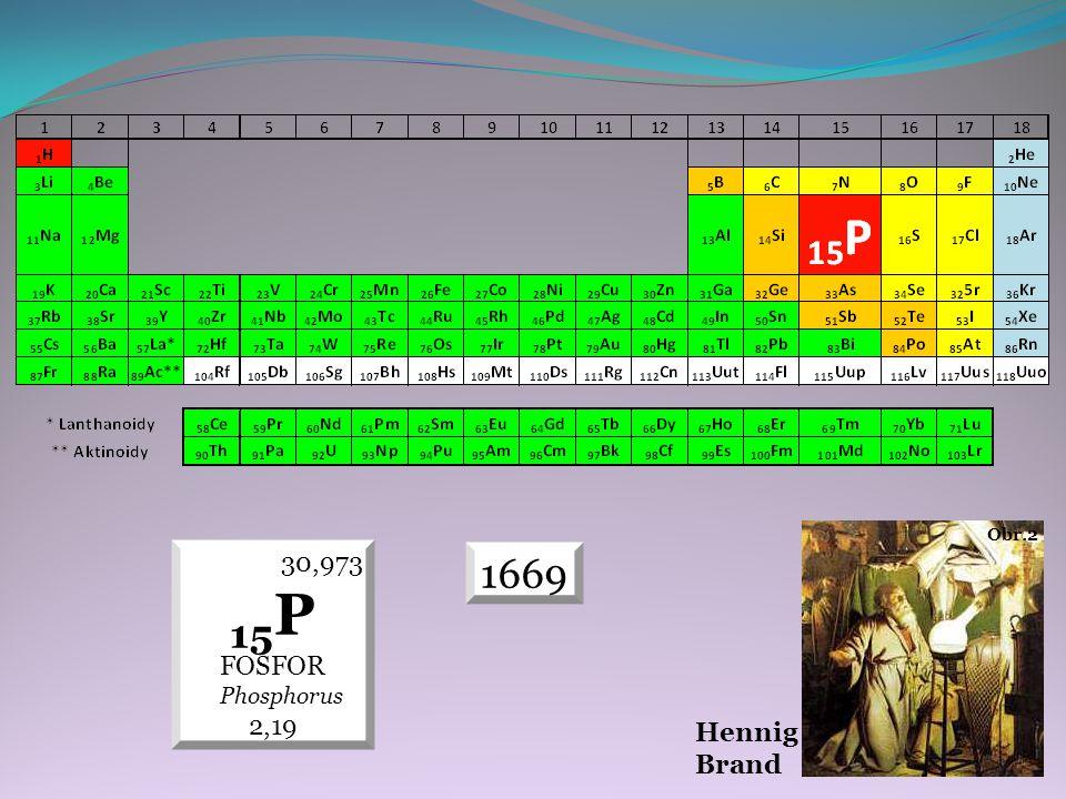 VLASTNOSTI FYZIKÁLNÍ  fosfor se vyskytuje ve třech modifikacích  bílý, červený a černý fosfor  nekovový prvek Obr.3  teplota tání +44,15 °C (317,3 K)  teplota varu +276,85 °C (550 K)