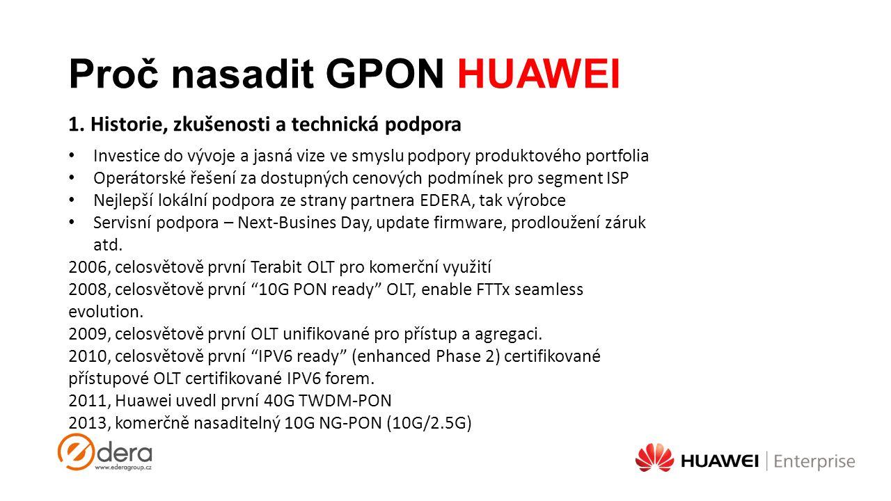 Proč nasadit GPON HUAWEI Investice do vývoje a jasná vize ve smyslu podpory produktového portfolia Operátorské řešení za dostupných cenových podmínek