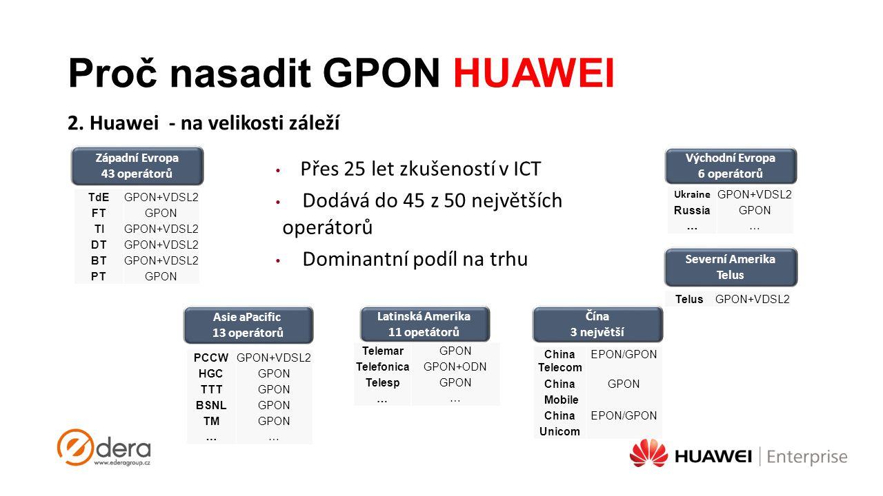 Proč nasadit GPON HUAWEI 2. Huawei - na velikosti záleží Čína 3 největší Východní Evropa 6 operátorů Severní Amerika Telus Asie aPacific 13 operátorů