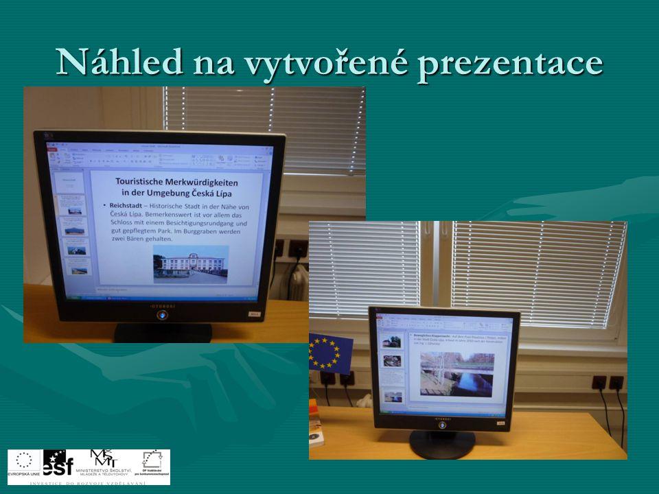 Náhled na vytvořené prezentace