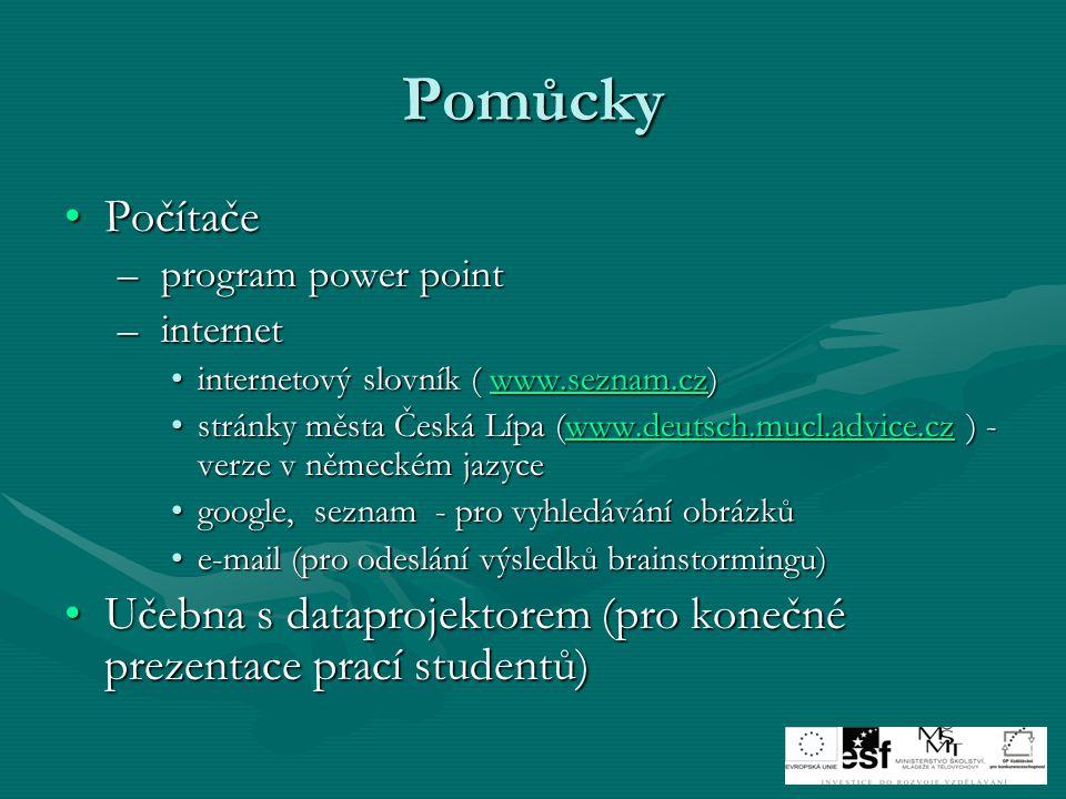 Pomůcky PočítačePočítače – program power point – internet internetový slovník ( www.seznam.cz)internetový slovník ( www.seznam.cz)www.seznam.cz stránky města Česká Lípa (www.deutsch.mucl.advice.cz ) - verze v německém jazycestránky města Česká Lípa (www.deutsch.mucl.advice.cz ) - verze v německém jazycewww.deutsch.mucl.advice.cz google, seznam - pro vyhledávání obrázkůgoogle, seznam - pro vyhledávání obrázků e-mail (pro odeslání výsledků brainstormingu)e-mail (pro odeslání výsledků brainstormingu) Učebna s dataprojektorem (pro konečné prezentace prací studentů)Učebna s dataprojektorem (pro konečné prezentace prací studentů)