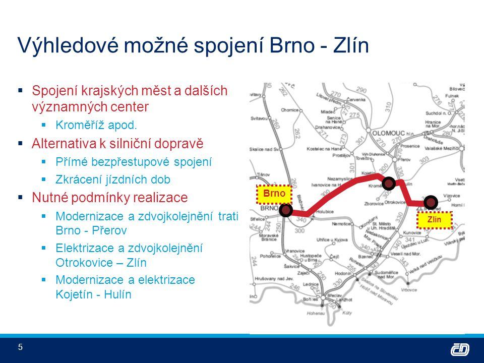 5 Výhledové možné spojení Brno - Zlín  Spojení krajských měst a dalších významných center  Kroměříž apod.  Alternativa k silniční dopravě  Přímé b