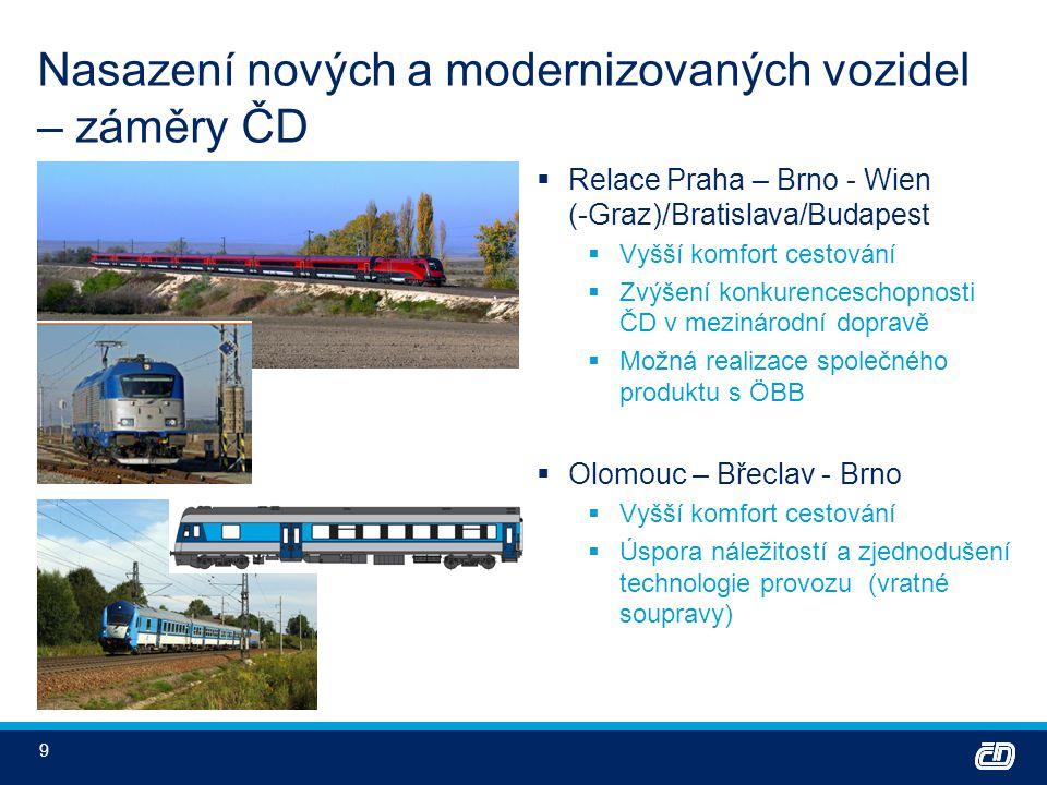 9 Nasazení nových a modernizovaných vozidel – záměry ČD  Relace Praha – Brno - Wien (-Graz)/Bratislava/Budapest  Vyšší komfort cestování  Zvýšení k