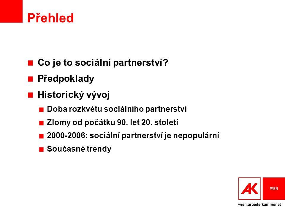 wien.arbeiterkammer.at Přehled Co je to sociální partnerství? Předpoklady Historický vývoj Doba rozkvětu sociálního partnerství Zlomy od počátku 90. l