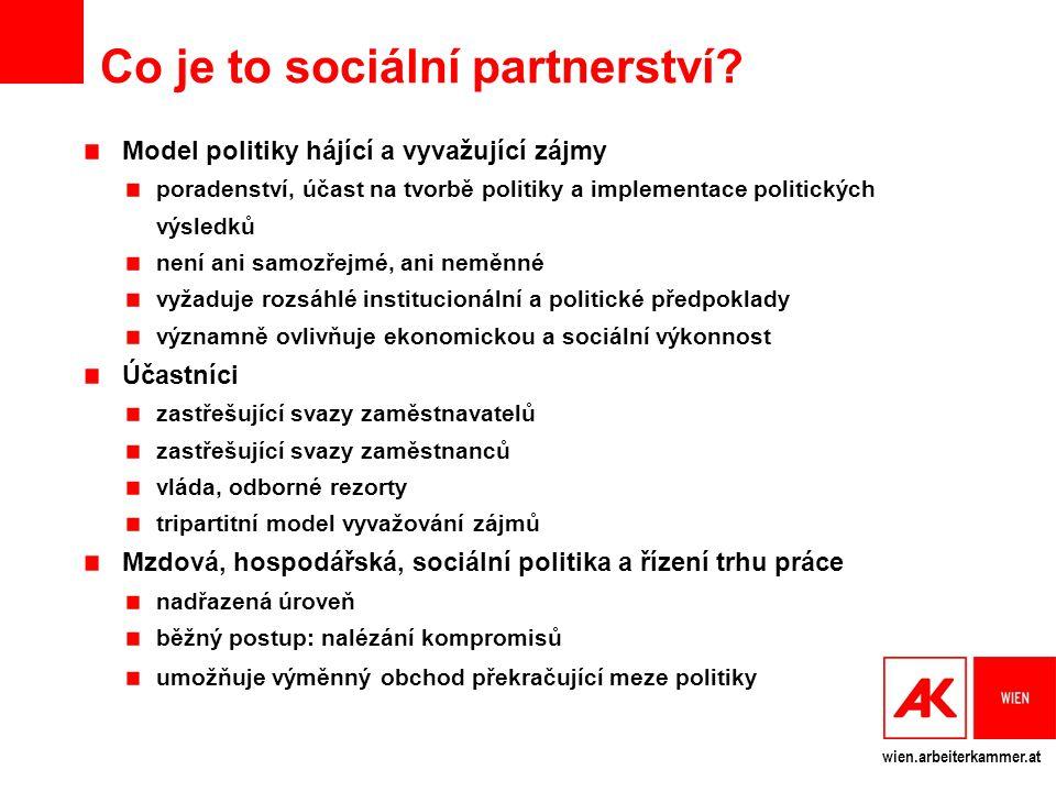 wien.arbeiterkammer.at Co je to sociální partnerství? Model politiky hájící a vyvažující zájmy poradenství, účast na tvorbě politiky a implementace po