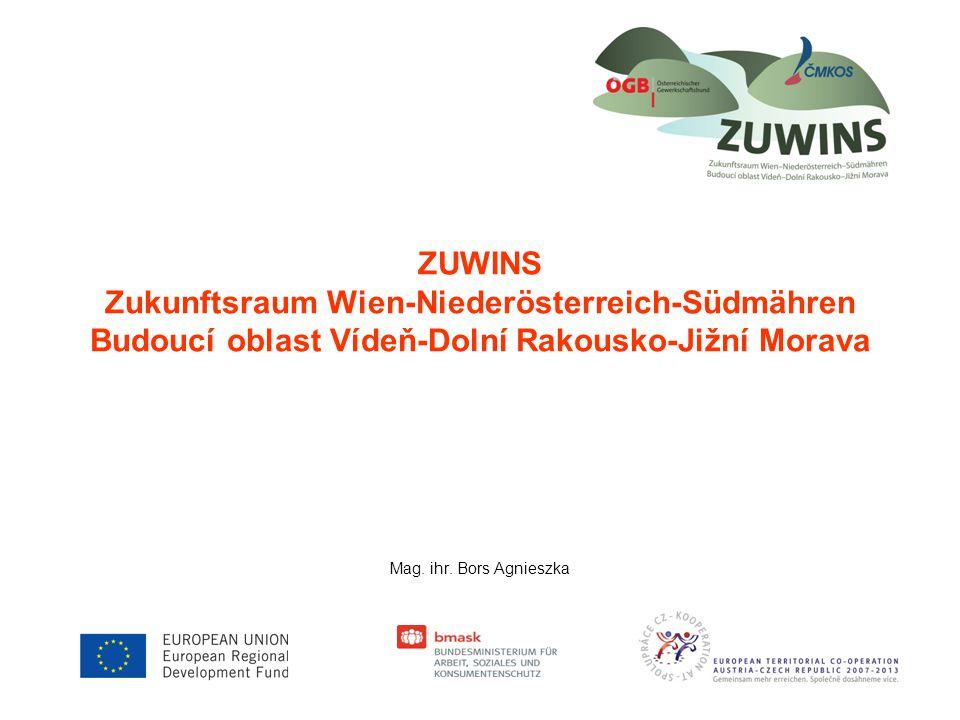 Projekt ZUWINS Přeshraniční projekt ZUWINS spočívá ve spolupráci Rakouského odborového svazu (ÖGB) a Česko-moravské konfederace odborových svazů (ČMKOS).ÖGBČMKOS Období projektu pokrývá 4 roky (01.01.2009 – 31.12.2012).
