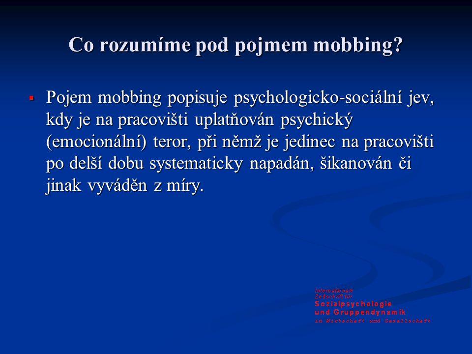 Co rozumíme pod pojmem mobbing.