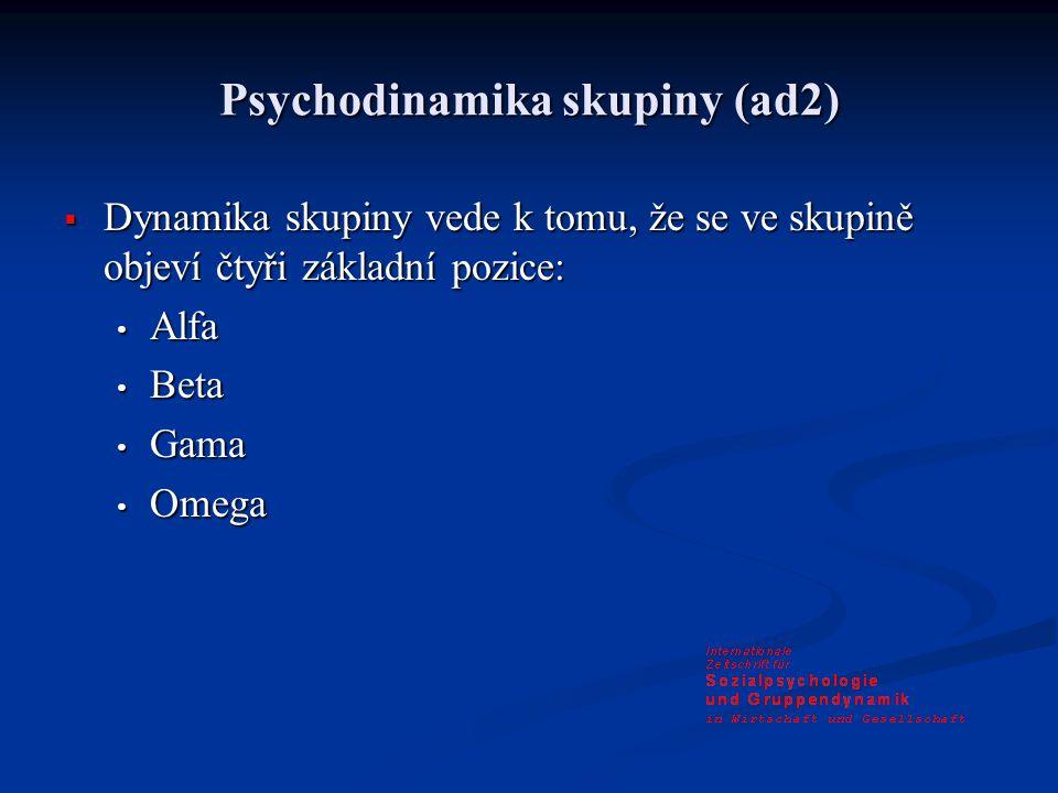 Psychodinamika skupiny (ad2)  Dynamika skupiny vede k tomu, že se ve skupině objeví čtyři základní pozice: Alfa Alfa Beta Beta Gama Gama Omega Omega