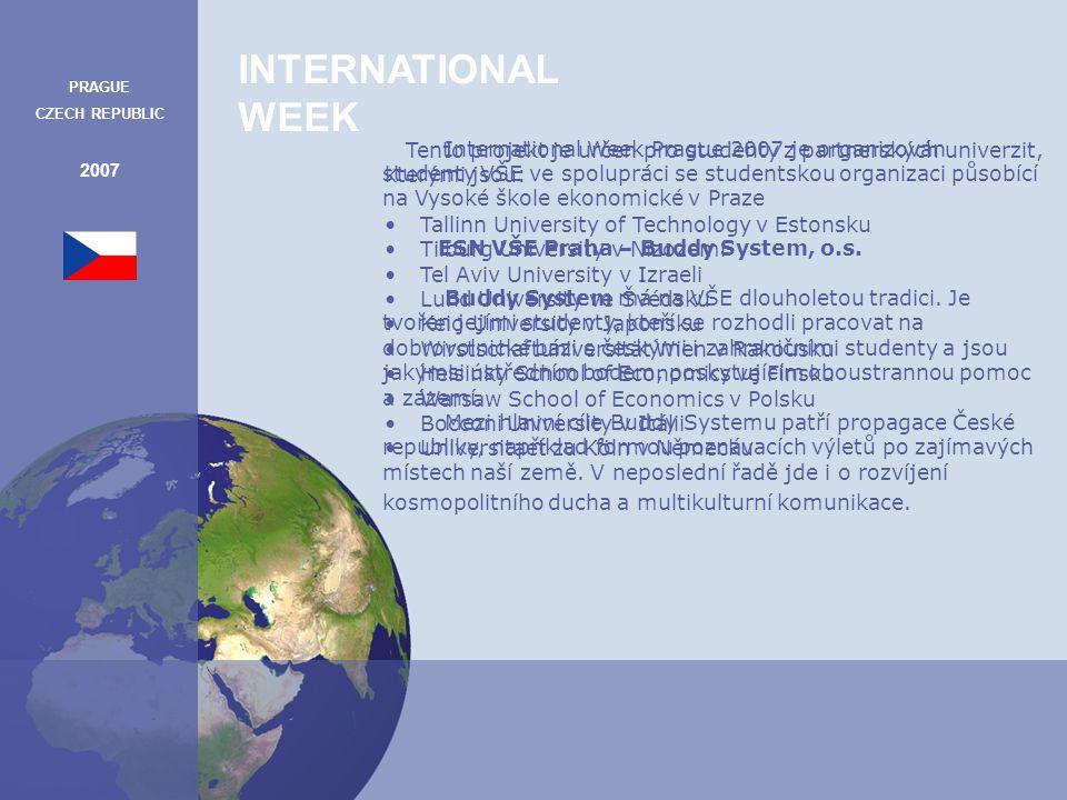 INTERNATIONAL WEEK PRAGUE CZECH REPUBLIC 2007 Hlavní myšlenkou International Weeku je setkávání různých kultur, což přináší mnoho pozitiv jak pro jedince, (nové přátelé a zážitky, nové vědomosti i rozšířené příležitosti k osobnímu a profesionálnímu růstu) tak i pro celosvětovou společnost.