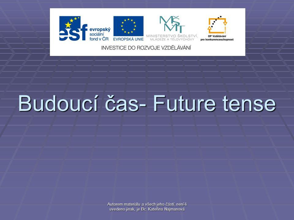 Autorem materiálu a všech jeho částí, není-li uvedeno jinak, je Bc. Kateřina Najmanová Budoucí čas- Future tense