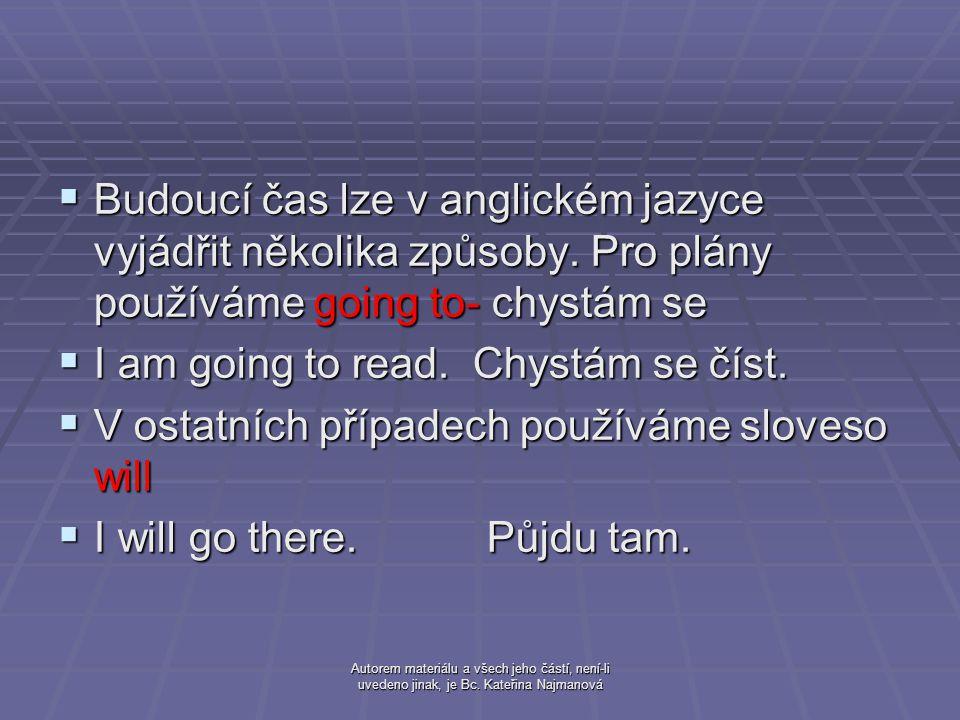 Autorem materiálu a všech jeho částí, není-li uvedeno jinak, je Bc. Kateřina Najmanová  Budoucí čas lze v anglickém jazyce vyjádřit několika způsoby.