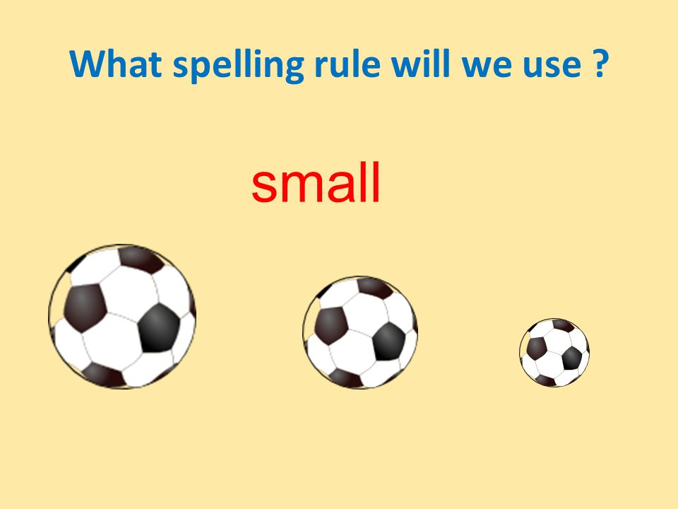 What spelling rule will we use ? small smallerthe smallest