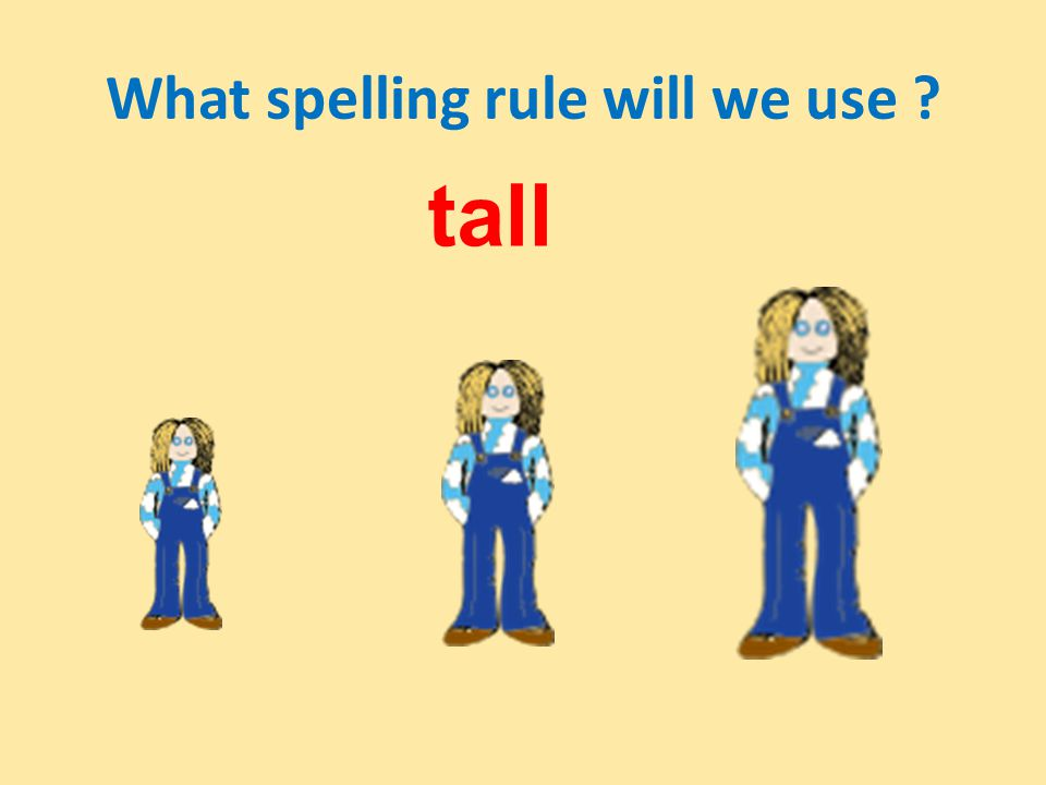 What spelling rule will we use ? tall taller the tallest