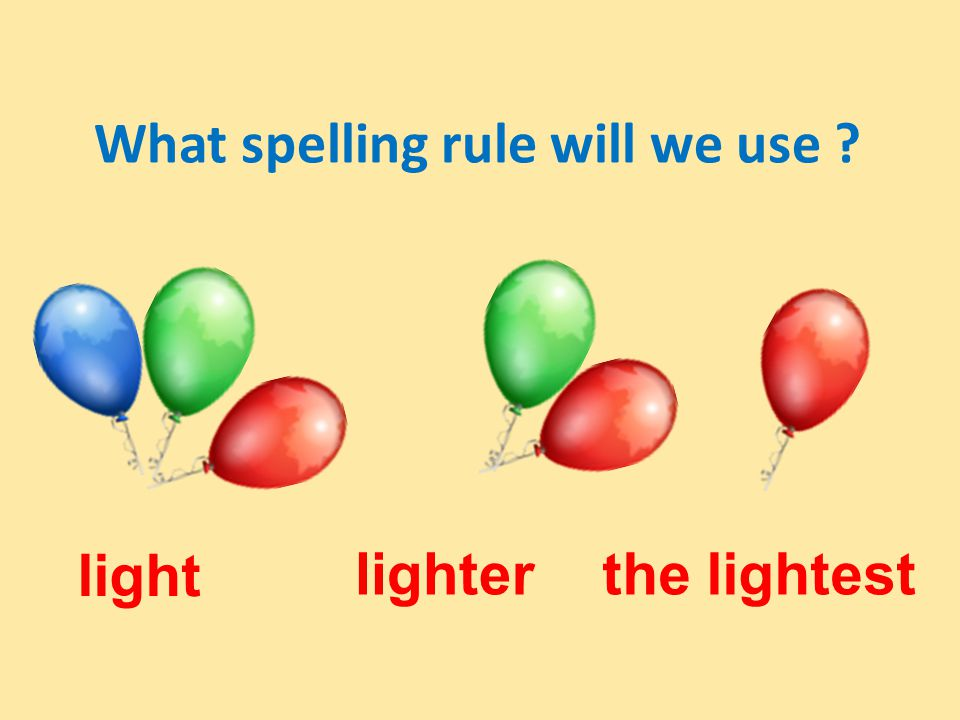 What spelling rule will we use light lighterthe lightest
