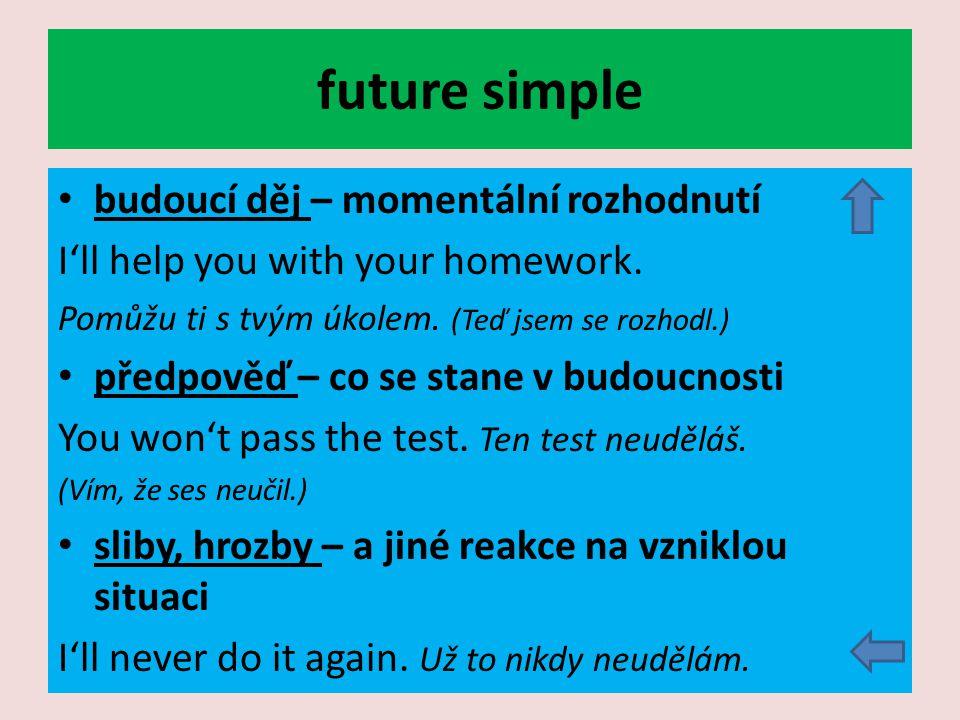 future simple budoucí děj – momentální rozhodnutí I'll help you with your homework.