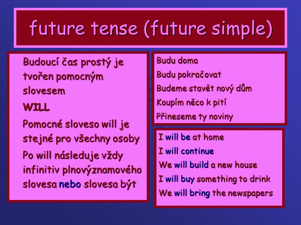 future simple - using Budoucí čas vyjádřený will se používá pokud se pro to, co budeme dělat rozhodujeme náhle, neplánovaně, až v tu chvíli, kdy o tom mluvíme Dále se will používá po uvozovacích větách, které obsahují slovesa a výrazy THINK, PROMISE, HOPE, IN MY OPINION … tyto věty vyjadřují naše PŘÁNÍ, SLIB, ROZHODNUTÍ, ODHODLÁNÍ I think you will pass the exam –Myslím, že tu zkoušku uděláš ( vyjadřuji tím svůj názor, svou naději a zároveň povzbuzuji toho druhého) I promise we will be in time – Slibuji, že přijdeme včas