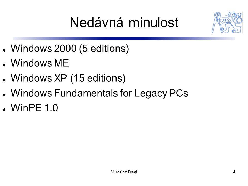 Nedávná minulost 4 Windows 2000 (5 editions) Windows ME Windows XP (15 editions) Windows Fundamentals for Legacy PCs WinPE 1.0 Miroslav Prágl