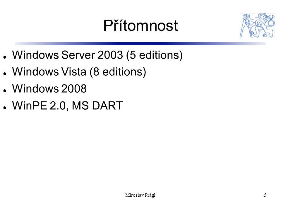 Přítomnost 5 Windows Server 2003 (5 editions) Windows Vista (8 editions) Windows 2008 WinPE 2.0, MS DART Miroslav Prágl