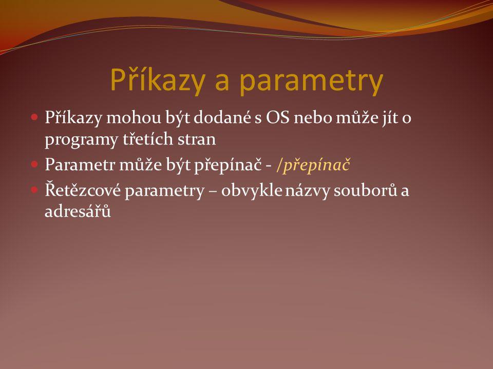 Příkazy a parametry Příkazy mohou být dodané s OS nebo může jít o programy třetích stran Parametr může být přepínač - /přepínač Řetězcové parametry – obvykle názvy souborů a adresářů