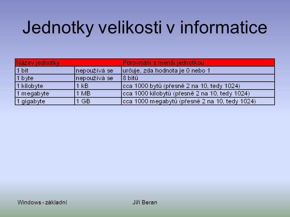 Windows - základníJiří Beran Jednotky velikosti v informatice