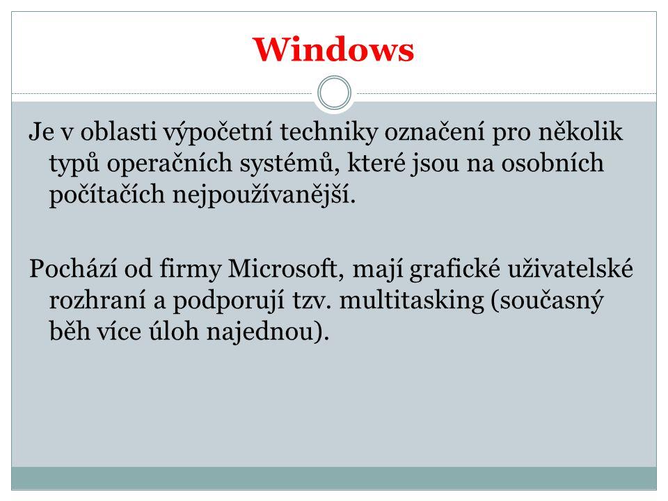 Verze Windows Windows 3.11 Windows 95 Windows 98 Windows millenium Windows 2000 Windows NT Windows XP Windows Vista Windows 7