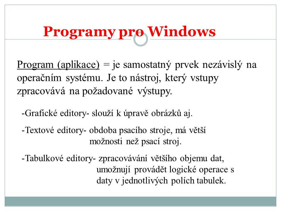 Programy pro Windows Program (aplikace) = je samostatný prvek nezávislý na operačním systému.