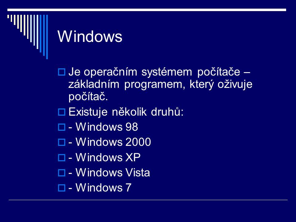 Windows  Je operačním systémem počítače – základním programem, který oživuje počítač.  Existuje několik druhů:  - Windows 98  - Windows 2000  - W