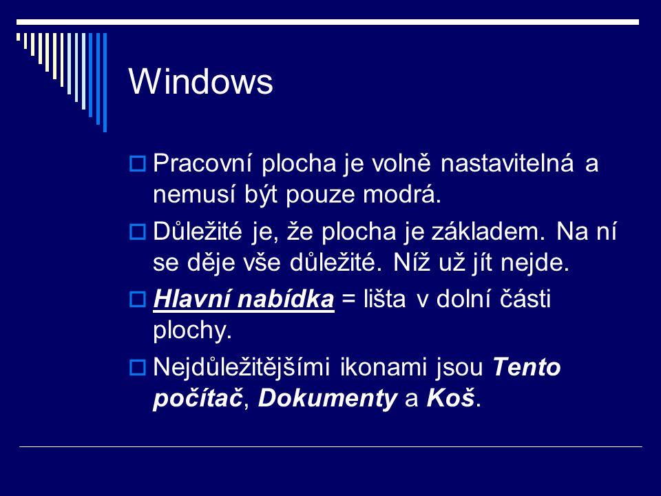 Windows  Pracovní plocha je volně nastavitelná a nemusí být pouze modrá.  Důležité je, že plocha je základem. Na ní se děje vše důležité. Níž už jít