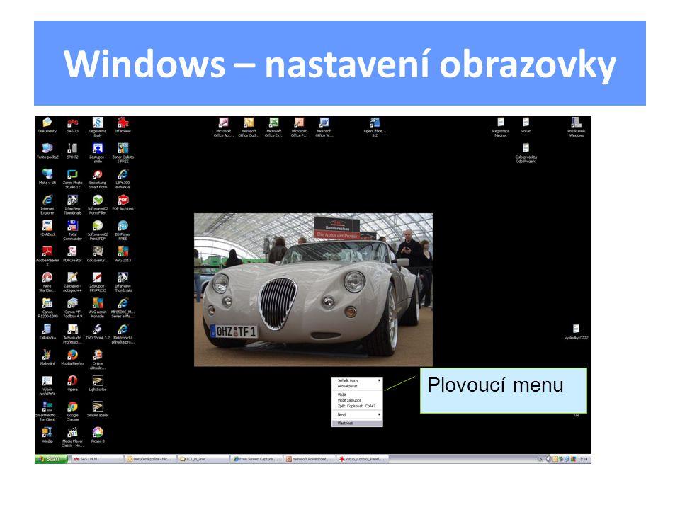 Windows – nastavení obrazovky Plovoucí menu