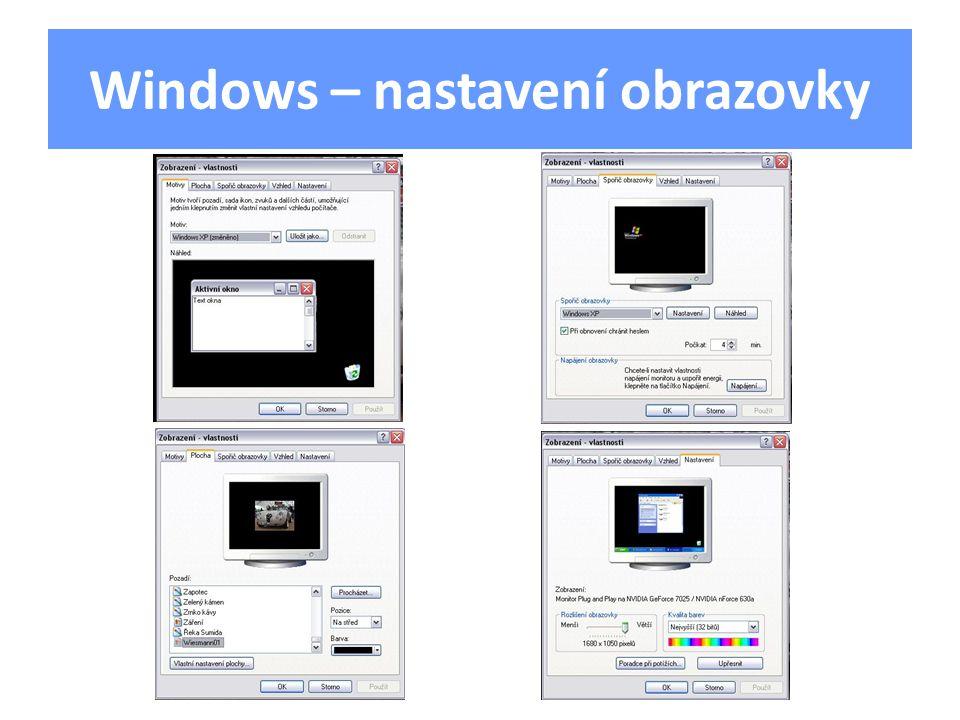 Windows – nastavení obrazovky